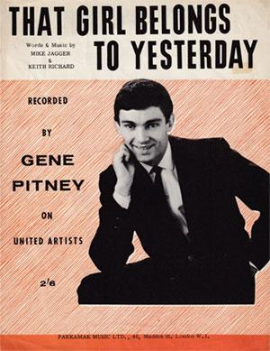 Gene Pitney - That Girl Belong To Yesterday (sheet)