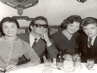 Maria Elena Holly, Buddy Holly, Virginia Hebel Perl and Phil Everly. This photo was taken in New York at El Chico Restaurant in September, 1958.